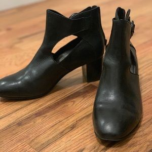 Black booties with cutout